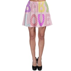 Pink Baby Love Text In Colorful Polka Dots Skater Skirt