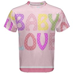 Pink Baby Love Text In Colorful Polka Dots Men s Cotton Tee