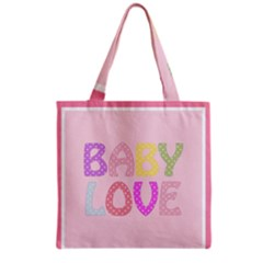 Pink Baby Love Text In Colorful Polka Dots Grocery Tote Bag
