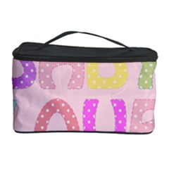 Pink Baby Love Text In Colorful Polka Dots Cosmetic Storage Case