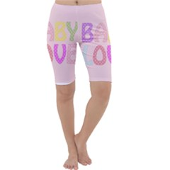 Pink Baby Love Text In Colorful Polka Dots Cropped Leggings