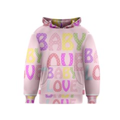 Pink Baby Love Text In Colorful Polka Dots Kids  Pullover Hoodie