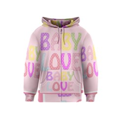 Pink Baby Love Text In Colorful Polka Dots Kids  Zipper Hoodie