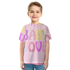 Pink Baby Love Text In Colorful Polka Dots Kids  Sport Mesh Tee