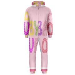 Pink Baby Love Text In Colorful Polka Dots Hooded Jumpsuit (Men)