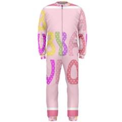 Pink Baby Love Text In Colorful Polka Dots OnePiece Jumpsuit (Men)