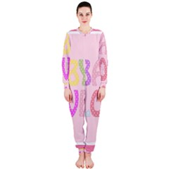 Pink Baby Love Text In Colorful Polka Dots OnePiece Jumpsuit (Ladies)