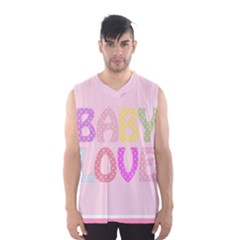 Pink Baby Love Text In Colorful Polka Dots Men s Basketball Tank Top