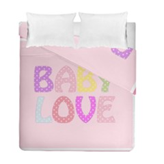 Pink Baby Love Text In Colorful Polka Dots Duvet Cover Double Side (full/ Double Size)