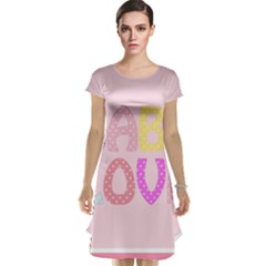 Pink Baby Love Text In Colorful Polka Dots Cap Sleeve Nightdress