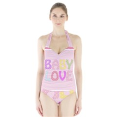 Pink Baby Love Text In Colorful Polka Dots Halter Swimsuit