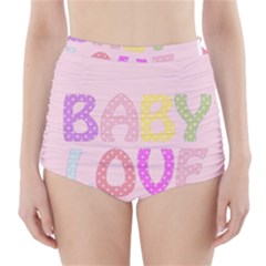 Pink Baby Love Text In Colorful Polka Dots High-Waisted Bikini Bottoms