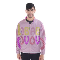 Pink Baby Love Text In Colorful Polka Dots Wind Breaker (men)