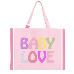 Pink Baby Love Text In Colorful Polka Dots Zipper Large Tote Bag