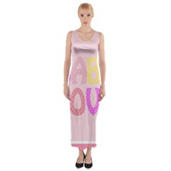 Pink Baby Love Text In Colorful Polka Dots Fitted Maxi Dress