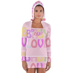 Pink Baby Love Text In Colorful Polka Dots Women s Long Sleeve Hooded T Shirt