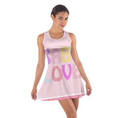 Pink Baby Love Text In Colorful Polka Dots Cotton Racerback Dress