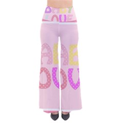 Pink Baby Love Text In Colorful Polka Dots Pants