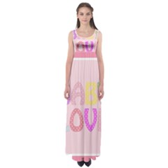 Pink Baby Love Text In Colorful Polka Dots Empire Waist Maxi Dress