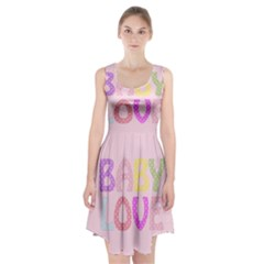 Pink Baby Love Text In Colorful Polka Dots Racerback Midi Dress
