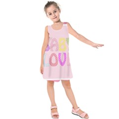 Pink Baby Love Text In Colorful Polka Dots Kids  Sleeveless Dress