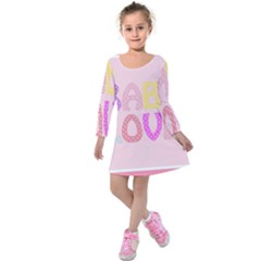Pink Baby Love Text In Colorful Polka Dots Kids  Long Sleeve Velvet Dress