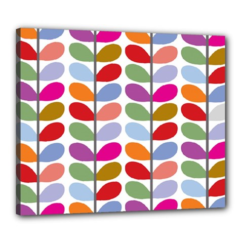Colorful Bright Leaf Pattern Background Canvas 24  X 20