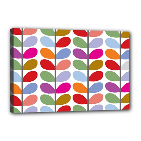 Colorful Bright Leaf Pattern Background Canvas 18  x 12