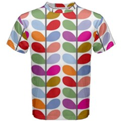 Colorful Bright Leaf Pattern Background Men s Cotton Tee