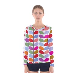 Colorful Bright Leaf Pattern Background Women s Long Sleeve Tee