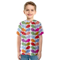 Colorful Bright Leaf Pattern Background Kids  Sport Mesh Tee