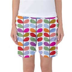 Colorful Bright Leaf Pattern Background Women s Basketball Shorts