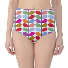 Colorful Bright Leaf Pattern Background High Waist Bikini Bottoms