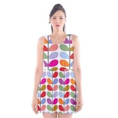 Colorful Bright Leaf Pattern Background Scoop Neck Skater Dress