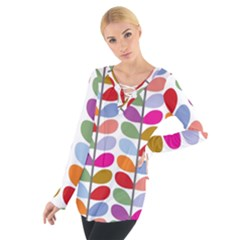 Colorful Bright Leaf Pattern Background Women s Tie Up Tee