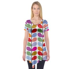 Colorful Bright Leaf Pattern Background Short Sleeve Tunic