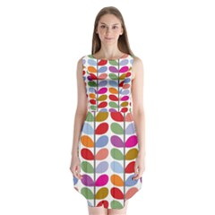 Colorful Bright Leaf Pattern Background Sleeveless Chiffon Dress