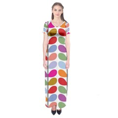 Colorful Bright Leaf Pattern Background Short Sleeve Maxi Dress
