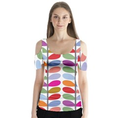 Colorful Bright Leaf Pattern Background Butterfly Sleeve Cutout Tee