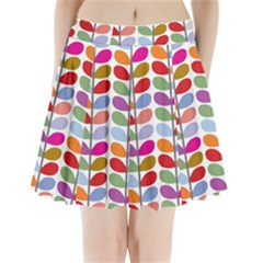 Colorful Bright Leaf Pattern Background Pleated Mini Skirt