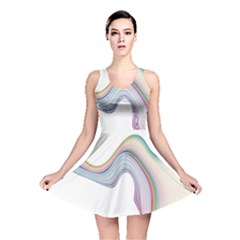 Abstract Ribbon Background Reversible Skater Dress