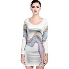 Abstract Ribbon Background Long Sleeve Bodycon Dress