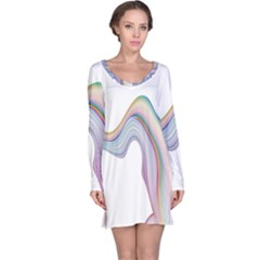 Abstract Ribbon Background Long Sleeve Nightdress