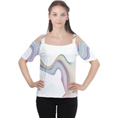 Abstract Ribbon Background Women s Cutout Shoulder Tee