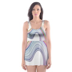 Abstract Ribbon Background Skater Dress Swimsuit