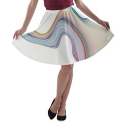 Abstract Ribbon Background A Line Skater Skirt