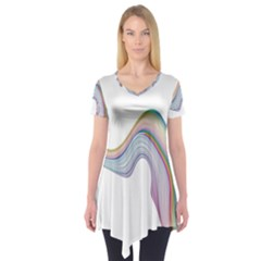 Abstract Ribbon Background Short Sleeve Tunic