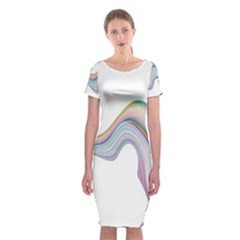 Abstract Ribbon Background Classic Short Sleeve Midi Dress