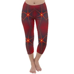 Impressive Red Fractal Capri Winter Leggings