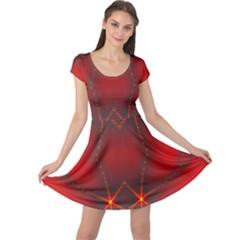 Impressive Red Fractal Cap Sleeve Dresses